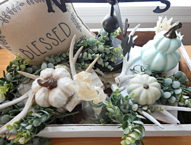 Fall Crate With Antlers and Pumpkins
