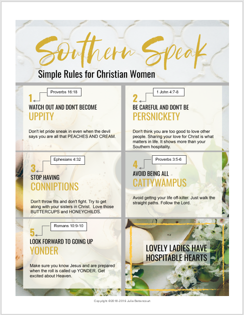 Julia Bettencourt Blog - Southern Speak Printable